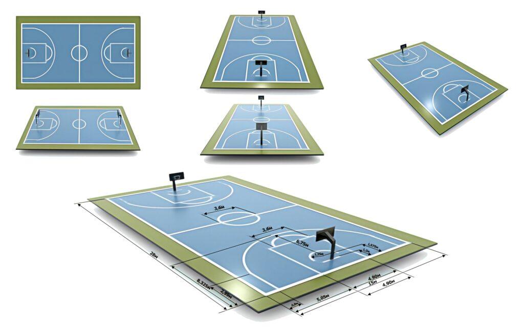 баскетбольная площадка с разметкой и размерами в разных ракурсах