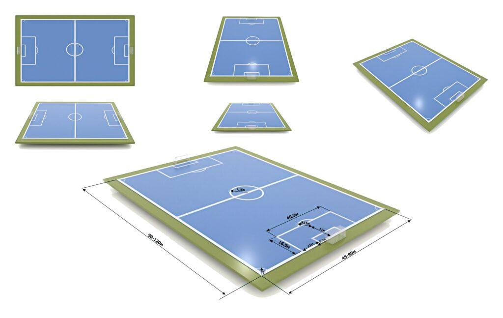 футбольное поле с разметкой и размерами в разных ракурсах