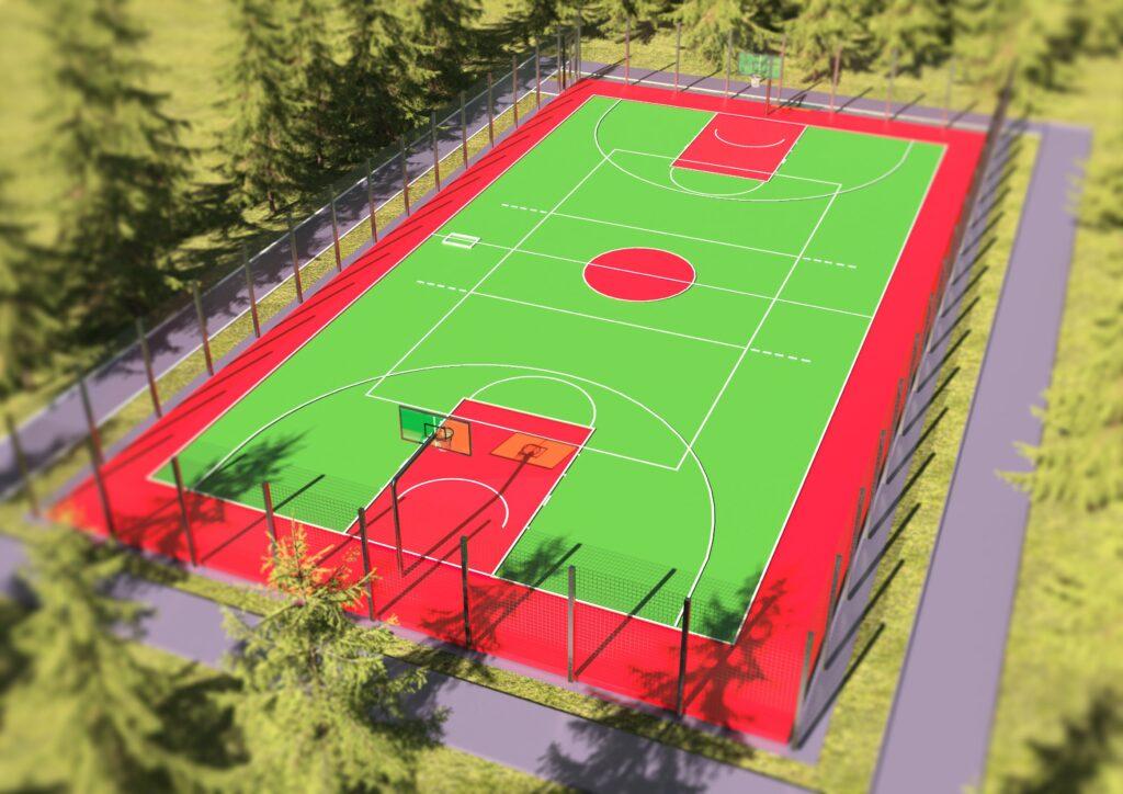 универсальная разметка площадки для игры в волейбол и баскетбол